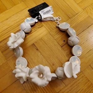 J.Crew White Floral, Crystal and Rope Necklace